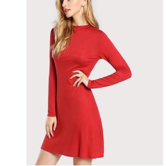 7a070f8a33 SheIn long sleeve red dress. M_5be322efc9bf50b6a37b6c25